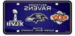 Baltimore Ravens 2X Super Bowl Champions Aluminum License Pl