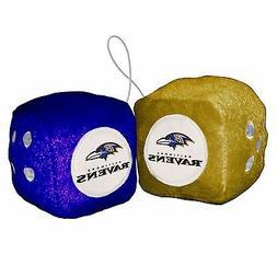 "Baltimore Ravens 3"" Fuzzy Dice PAIR Car Auto Rearview Mirror"