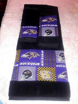 Baltimore Ravens 3 Piece Bath Towel Set  Handmade   GREAT GI