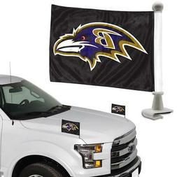 Baltimore Ravens Ambassador Car Flag 2 Piece Set   NFL Banne