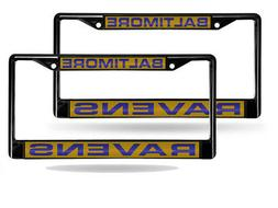 Baltimore Ravens Black Metal  Laser License Plate Frame Set