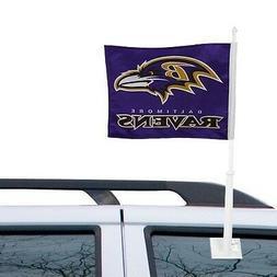 BALTIMORE RAVENS CAR AUTO FLAG BANNER & POLE 2 SIDED NFL FOO