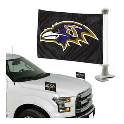 Baltimore Ravens Double Sided Car Hood / Trunk Flags 4'' x 6