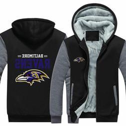 Baltimore Ravens Fan Hoodie Fleece zip up Coat winter Jacket