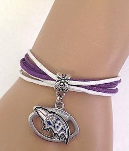 Baltimore Ravens Football Charm Multi Cord Style Bracelet QU