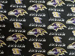 Baltimore Ravens, NFL Licensed Cotton Fabric, 1/2 Yard, New