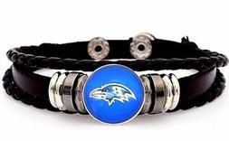 Baltimore Ravens Mens Womens Black Leather Bracelet Football