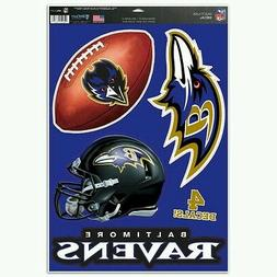 BALTIMORE RAVENS MULTI-USE DECALS 4 DIFFERENT PER SHEET 11X1