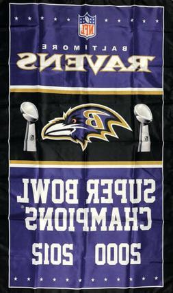 Baltimore Ravens NFL Super Bowl Championship Flag 3x5 ft Spo