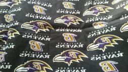 Baltimore Ravens Purple Gold on Black Cotton Fabric Scrap Qu