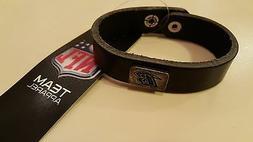 Baltimore Ravens Square Antiqued Logo Leather Cuff Bracelet