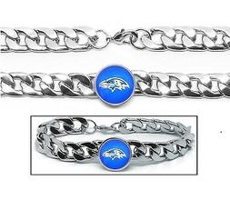 Baltimore Ravens Stainless Wide 12mm Womens Mens Link Chain