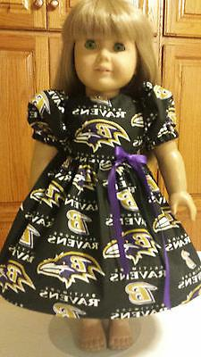 """18"""" Doll Clothes  Dress Baltimore Ravens   #2    Made in Ame"""