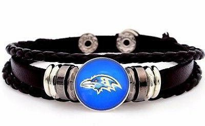 baltimore ravens mens womens black leather bracelet