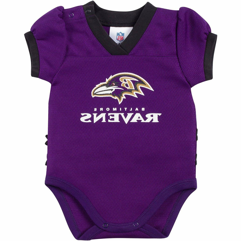 baltimore ravens purple kids girls bodysuit jersey