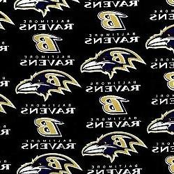 NFL Baltimore Ravens Lisensed Cotton Fabric 1/2 Yards 60 Inc