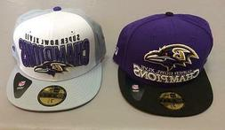 Lot of 2 New Era Baltimore Ravens Superbowl Champs Hats Caps