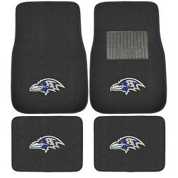 New 5pc NFL Baltimore Ravens Car Truck Floor Mats & Steering