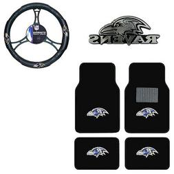 New NFL Baltimore Ravens Car Truck Floor Mats Steering Wheel