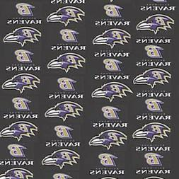 NFL BALTIMORE RAVENS BLACK COTTON FABRIC MATERIAL, Fabric So