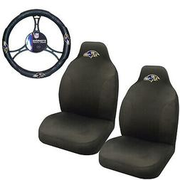 NFL Baltimore Ravens Car Truck 2 Front Seat Covers & Steerin
