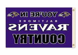 """NFL Baltimore Ravens 3-by-5 Foot """"In Country"""" Flag"""