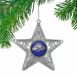 NFL Baltimore Ravens Silver Star Ornament, Small, Silver