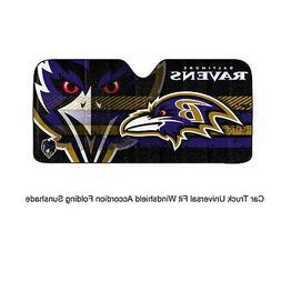 NFL Baltimore Ravens Universal Auto Shade, Large, Black