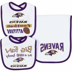 NFL Infant Baltimore Ravens Dribbler Bibs & Burp Cloth Set,