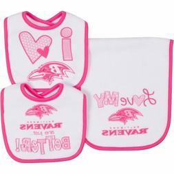 NFL Infant Girls Baltimore Ravens Dribbler Bibs & Burp Cloth
