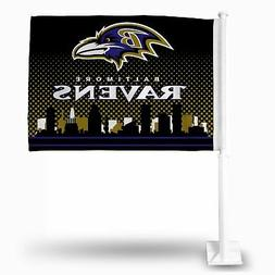 Rico NFL FG Car Flag with White Pole Ravens New